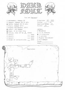Pelle Nilson & Johan Nohr, Dark Fort character sheet