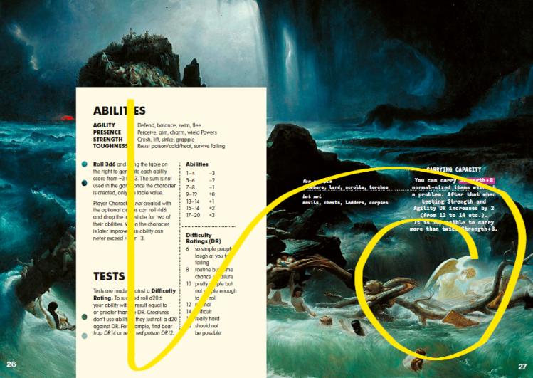 "Nohr's 2-page spread using Danb'ys ""Deluge"" in Mörk Borg"