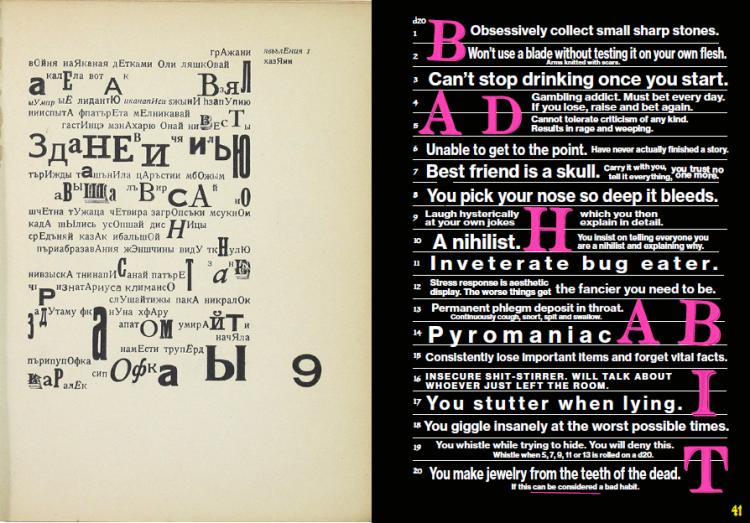 Ilia Zdanevich's influence on Mörk Borg's visual and typographic design