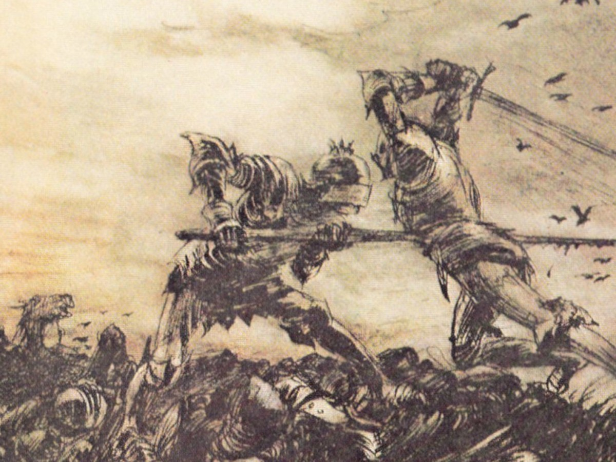 Arthur Rackham, How Mordred Was Slain by Arthur, 1917. Public domain.