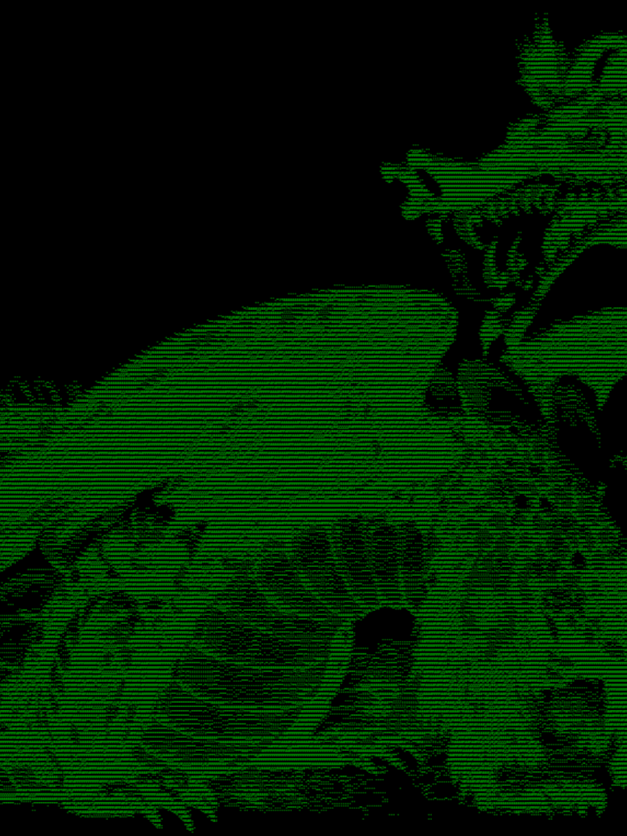 Dragon by Pearson Scott Foresman. Public domain. Modified using Text-Image's ASCII converter tool.