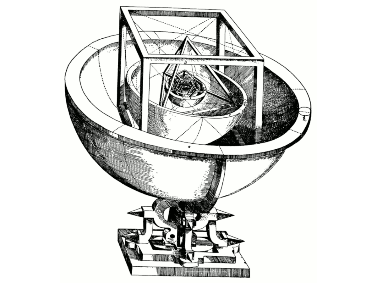 Johannes Kepler's platonic solid model of the Solar System, from Mysterium Cosmographicum, 1596. Public domain.